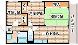 兵庫県神戸市須磨区大手町3丁目の賃貸マンションの間取り