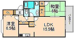 兵庫県伊丹市野間7丁目の賃貸アパートの間取り