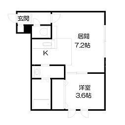 北海道札幌市白石区栄通17丁目の賃貸アパートの間取り