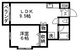 クレセントブルームB[1階]の間取り