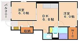 福岡県福岡市南区的場2丁目の賃貸アパートの間取り