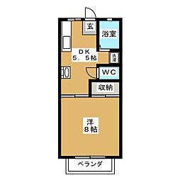 サンシャインW D[1階]の間取り