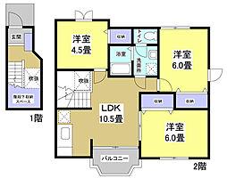 静岡県袋井市徳光の賃貸アパートの間取り