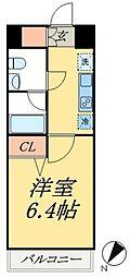 京成押上線 四ツ木駅 徒歩8分の賃貸マンション 8階1Kの間取り