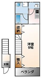 兵庫県西宮市里中町3丁目の賃貸アパートの間取り