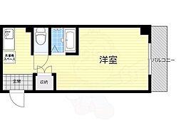 京阪電鉄中之島線 中之島駅 徒歩4分の賃貸マンション 5階ワンルームの間取り