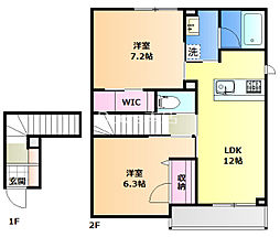 JR宇野線 妹尾駅 徒歩16分の賃貸アパート 2階2LDKの間取り