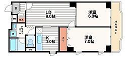 サンライズ南船場[2階]の間取り