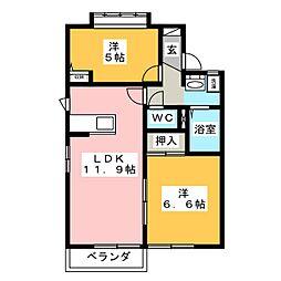 ヒルズ桜ヶ丘[2階]の間取り