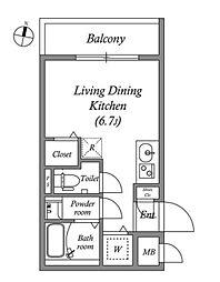 LEGALAND東新宿 4階ワンルームの間取り