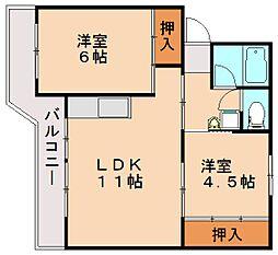 ビレッジハウス飯塚2号棟[3階]の間取り