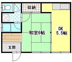 広島県広島市中区舟入南1丁目の賃貸アパートの間取り