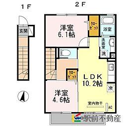 サンドハウスA棟[2階]の間取り