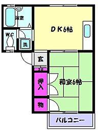 兵庫県神戸市東灘区魚崎北町7丁目の賃貸アパートの間取り