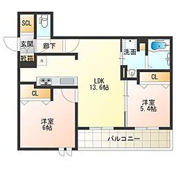 (仮称)西成区シャーメゾン千本南2丁目PJ 3階2LDKの間取り