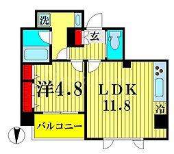 JR総武線 両国駅 徒歩9分の賃貸マンション 9階1LDKの間取り