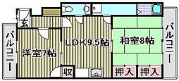 フォーブル綾園[3A号室]の間取り