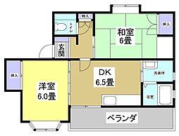 サンワハイツII[1階]の間取り