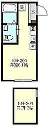 エアカーサ三ツ沢[104号室号室]の間取り
