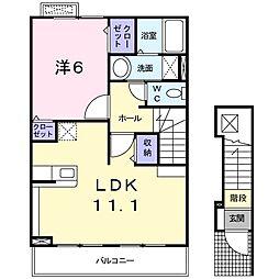 JR津山線 玉柏駅 バス5分 牟佐上下車 徒歩8分の賃貸アパート 2階1LDKの間取り
