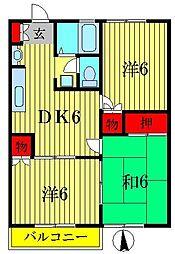 東京都葛飾区水元5丁目の賃貸アパートの間取り