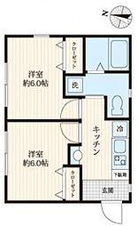 シティメゾン篠崎 2階2Kの間取り