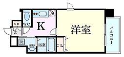 Osaka Metro堺筋線 南森町駅 徒歩5分の賃貸マンション 4階1Kの間取り