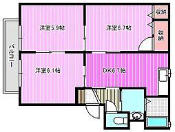 サニーサイドD[2階]の間取り