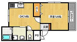 大阪府高石市綾園7丁目の賃貸アパートの間取り