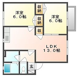 岡山県岡山市中区国富1丁目の賃貸アパートの間取り