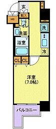 セレニティコート虎ノ門 11階1Kの間取り