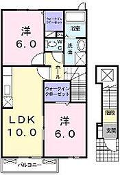 香川県綾歌郡宇多津町中村の賃貸アパートの間取り