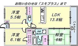 コスモシティ神戸本山[4階]の間取り