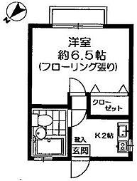 東京都世田谷区代田5丁目の賃貸アパートの間取り