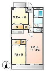 ビアンコロッソ[1階]の間取り