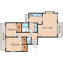 奈良県奈良市あやめ池南6丁目の賃貸マンションの間取り