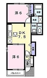 千葉県東金市堀上の賃貸アパートの間取り