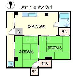 セントラル一乗寺[4階]の間取り
