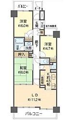 埼玉県さいたま市中央区鈴谷7丁目の賃貸マンションの間取り