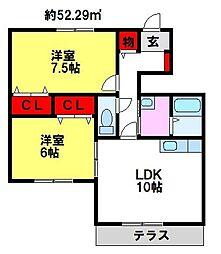 福岡県小郡市三沢の賃貸アパートの間取り