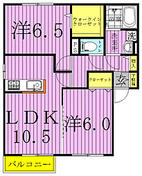 千葉県柏市東逆井1丁目の賃貸アパートの間取り