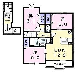愛知県西尾市徳永町東側の賃貸アパートの間取り