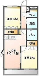 JR赤穂線 大多羅駅 徒歩18分の賃貸マンション 2階2LDKの間取り