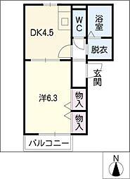ドミールひかり[1階]の間取り