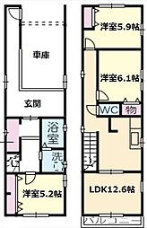 [一戸建] 愛知県名古屋市中川区長良町3丁目 の賃貸【/】の間取り