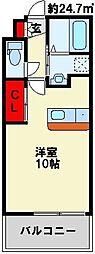 アクシオ小倉 8階ワンルームの間取り