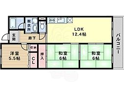 JR東海道・山陽本線 岸辺駅 徒歩17分の賃貸マンション 4階3LDKの間取り