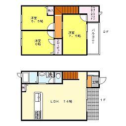 JR阪和線 和泉府中駅 徒歩19分の賃貸テラスハウス 3LDKの間取り
