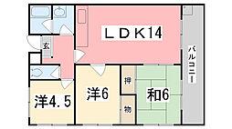 兵庫県姫路市新在家3丁目の賃貸マンションの間取り
