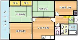 サンシティ三萩野[406号室]の間取り